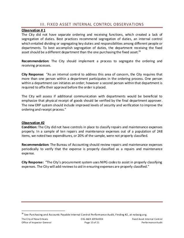 TheCityofNewOrleans OIG‐A&R‐10PAU004 FixedAssetInternalControl OfficeofInspectorGeneral Page16of21 Pe...