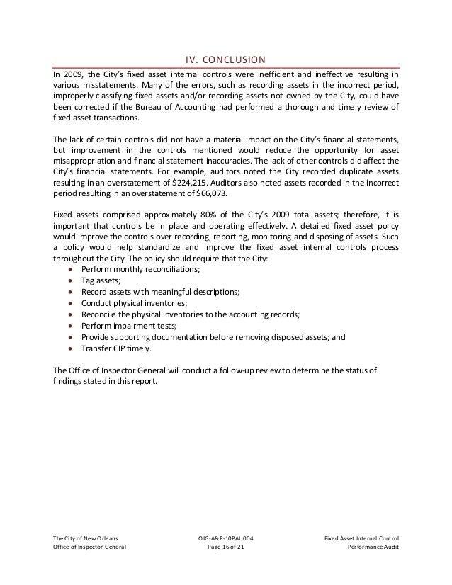 TheCityofNewOrleans OIG‐A&R‐10PAU004 FixedAssetInternalControl OfficeofInspectorGeneral Page17of21 Pe...