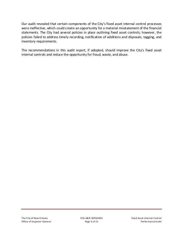 TheCityofNewOrleans OIG‐A&R‐10PAU004 FixedAssetInternalControl OfficeofInspectorGeneral Page5of21 Per...