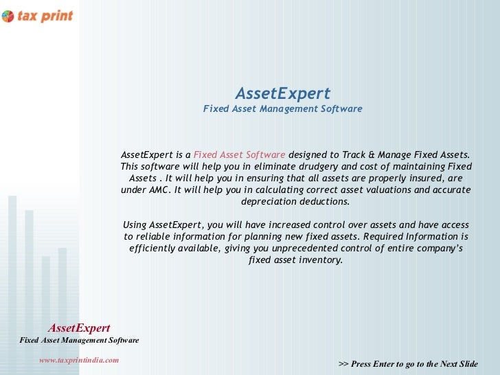 AssetExpert                                                Fixed Asset Management Software                             Ass...