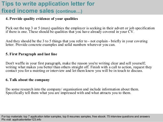 fixed income sales application letter