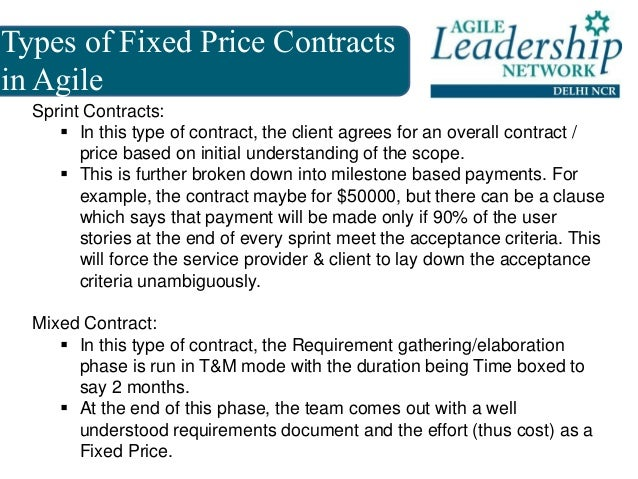 Fixed price contracts in agile aln delhi ncr meetup 2 for Fixed price construction contract template