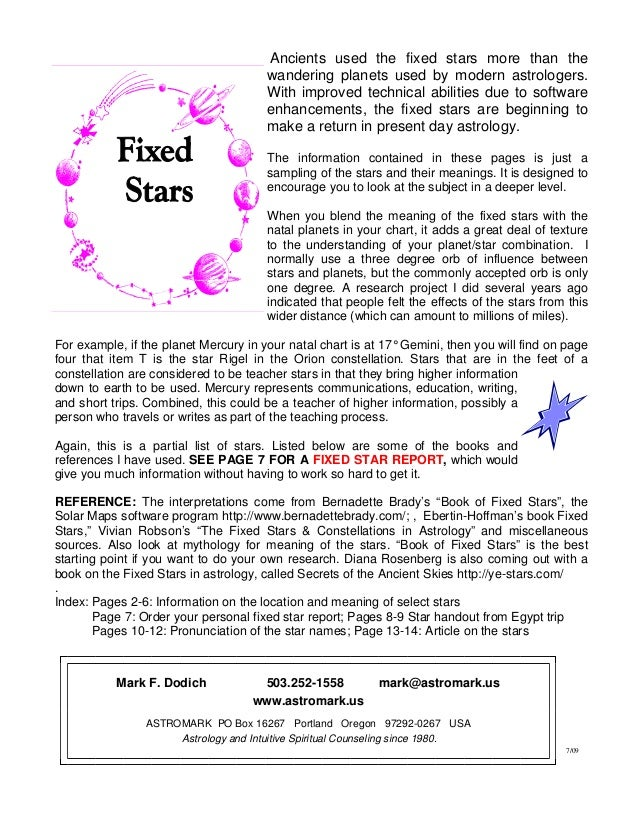 meaning fixed stars astrology