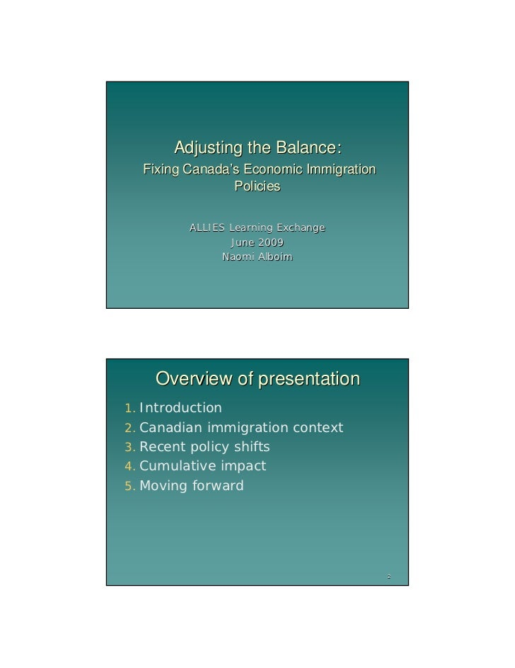 Adjusting the Balance:  Fixing Canada's Economic Immigration                Policies          ALLIES Learning Exchange    ...