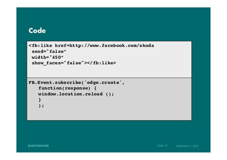 """Code<fb:like href=http://www.facebook.com/skoda!  send=""""false""""!  width=""""450""""!  show_faces=""""false""""></fb:like>!!!FB.Event.su..."""