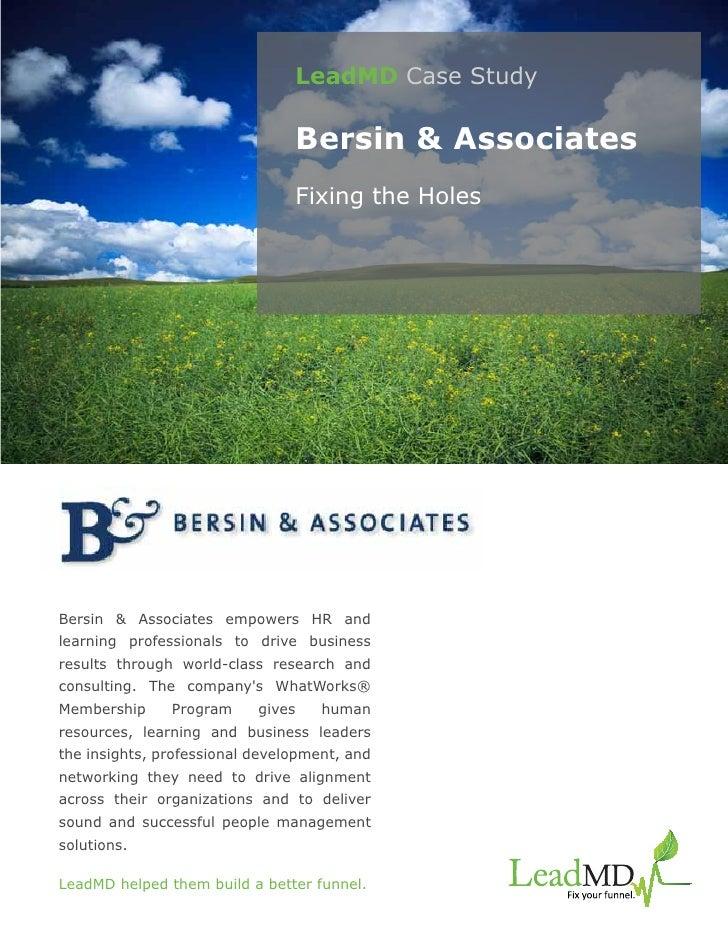 LeadMD Case Study                                Bersin & Associates                                Fixing the HolesBersin...