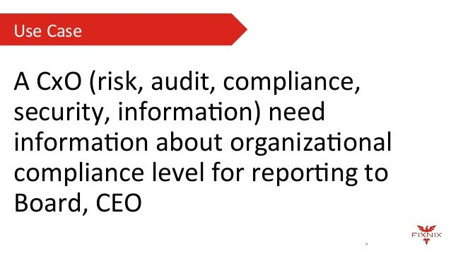 Use  Case   4 A  CxO  (risk,  audit,  compliance,   security,  informaAon)  need   informaAon  about...