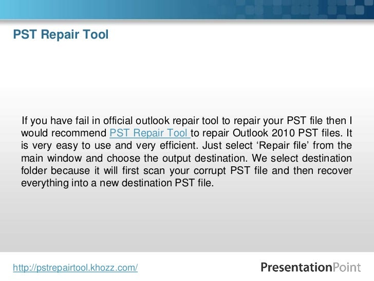outlook repair tool 2010