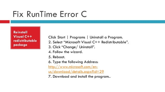how to fix visual c++ runtime error