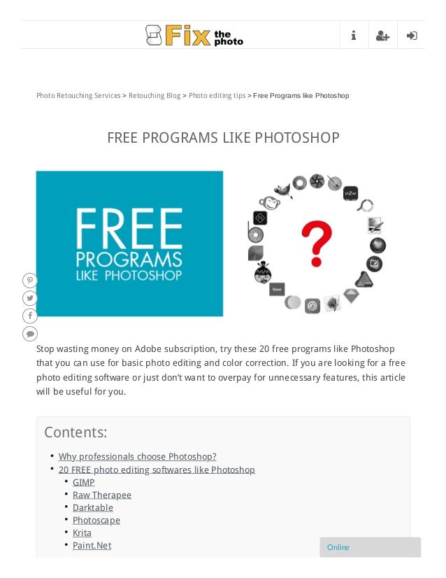 Top 20 Free Programs like Photoshop