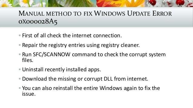 Fix windows update error 0x000028 a5