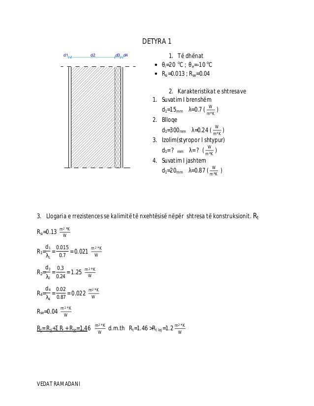 VEDAT RAMADANI d1 d2 d3 d4 DETYRA 1 1. Të dhënat • θi=20 o C ; θe=-10 o C • Rsi=0.013 ; Rse=0.04 2. Karakteristikat e shtr...
