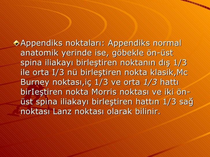<ul><li>Appendiks noktaları: Appendiks normal anatomik yerinde ise, göbekle ön-üst spina iliakayı birleştiren noktanın dış...