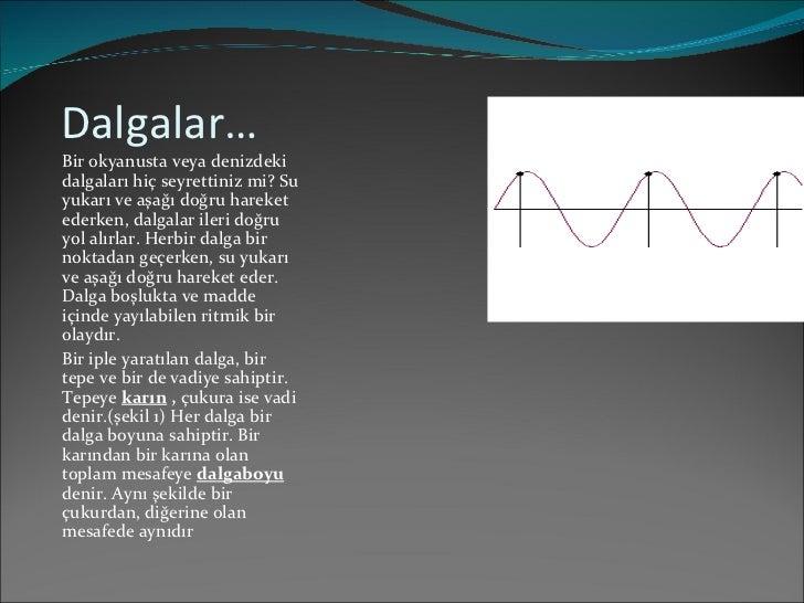 Dalgalar… <ul><li>Bir okyanusta veya denizdeki dalgaları hiç seyrettiniz mi? Su yukarı ve aşağı doğru hareket ederken, dal...