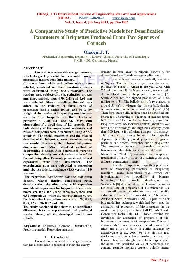 Oladeji, J. T/ International Journal of Engineering Research and Applications (IJERA) ISSN: 2248-9622 www.ijera.com Vol. 3...