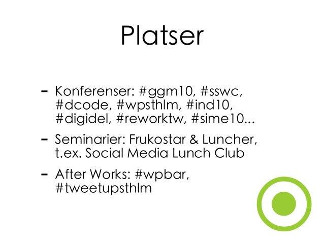 ⦿ Platser - Konferenser: #ggm10, #sswc, #dcode, #wpsthlm, #ind10, #digidel, #reworktw, #sime10... - Seminarier: Frukostar ...