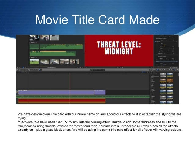 Title Card Production