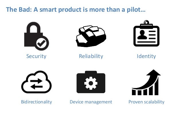 The Bad: A smart product is more than a pilot… Security Reliability Identity Bidirectionality Device management Proven sca...