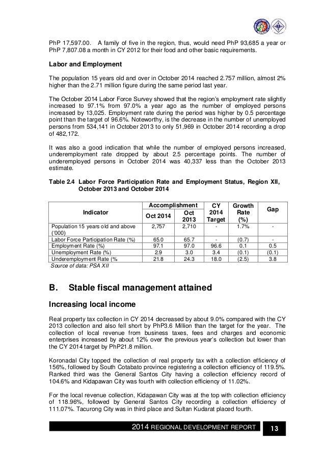Regional Development Report Rdr Of Soccsksargen For 2014