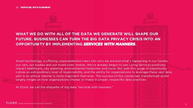 SERVICES WITH MANNERS02 WHAT WE DO WITH ALL OF THE DATA WE GENERATE WILL SHAPE OUR FUTURE. BUSINESSES CAN TURN THE BIG DAT...