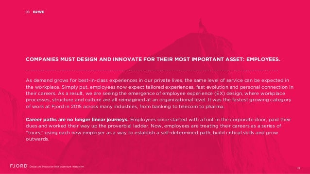B2WE03 COMPANIES MUST DESIGN AND INNOVATE FOR THEIR MOST IMPORTANT ASSET: EMPLOYEES. As demand grows for best-in-class exp...