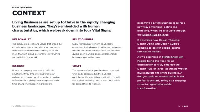 Design and Innovation from Accenture Interactive CONTEXT DESIGN FROM WITHIN Living Businesses are set up to thrive in the ...