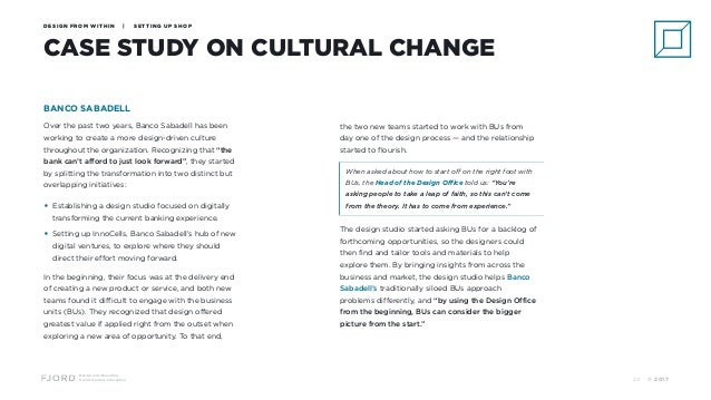Design and Innovation from Accenture Interactive CASE STUDY ON CULTURAL CHANGE DESIGN FROM WITHIN | SETTING UP SHOP BANCO ...