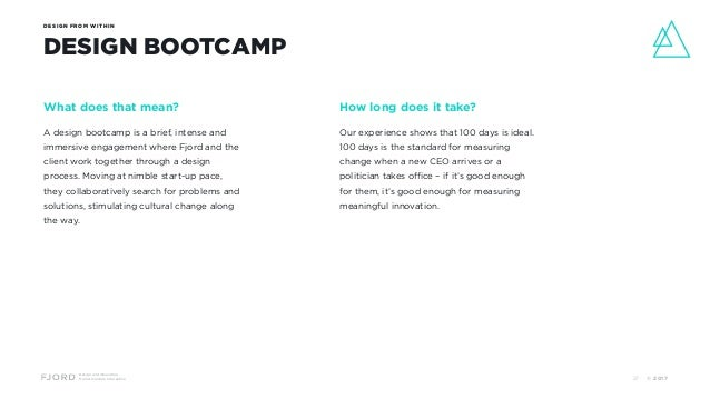 Design and Innovation from Accenture Interactive DESIGN FROM WITHIN DESIGN BOOTCAMP What does that mean? A design bootcamp...