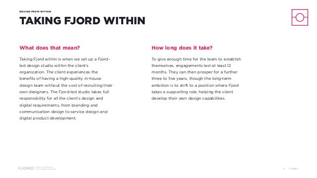 Design and Innovation from Accenture Interactive DESIGN FROM WITHIN TAKING FJORD WITHIN What does that mean? Taking Fjord ...
