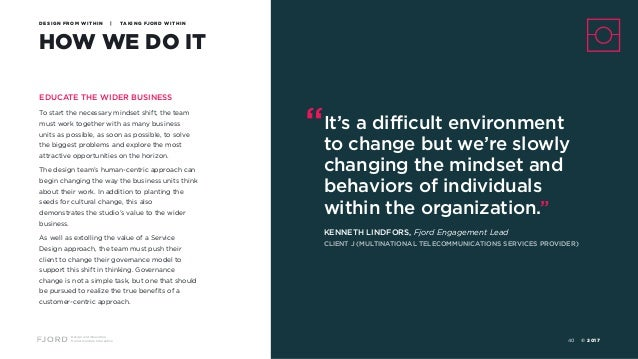 Design and Innovation from Accenture Interactive HOW WE DO IT DESIGN FROM WITHIN | TAKING FJORD WITHIN EDUCATE THE WIDER B...