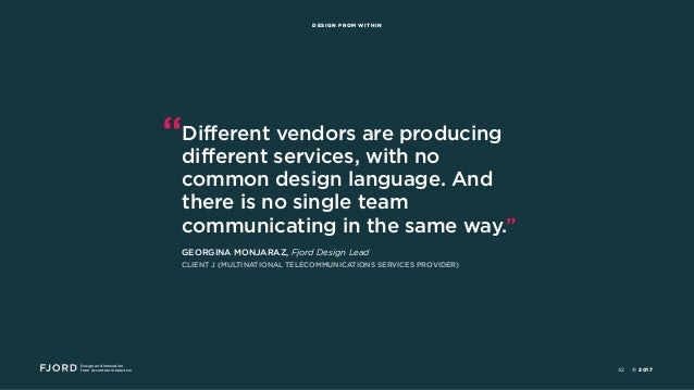 """Design and Innovation from Accenture Interactive DESIGN FROM WITHIN """"Different vendors are producing different services, w..."""