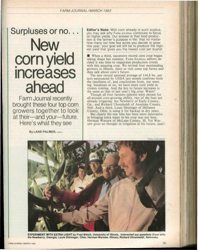 FARM JOURNAL/MARCH           1983                                                               Editors Note: With corn al...