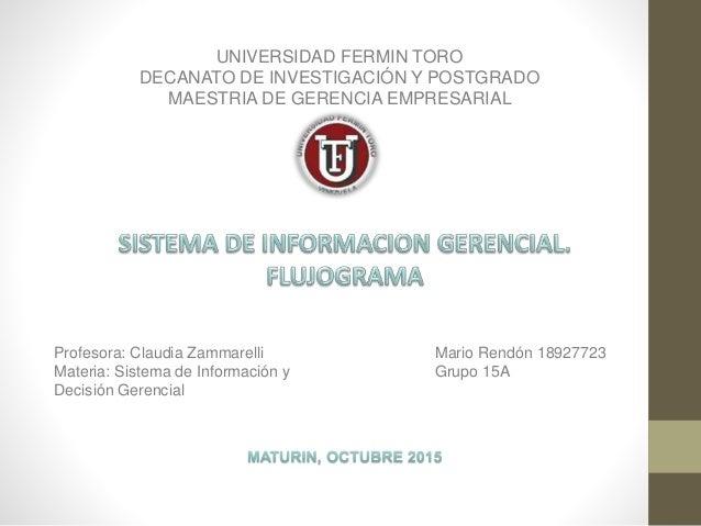 UNIVERSIDAD FERMIN TORO DECANATO DE INVESTIGACIÓN Y POSTGRADO MAESTRIA DE GERENCIA EMPRESARIAL Mario Rendón 18927723 Grupo...