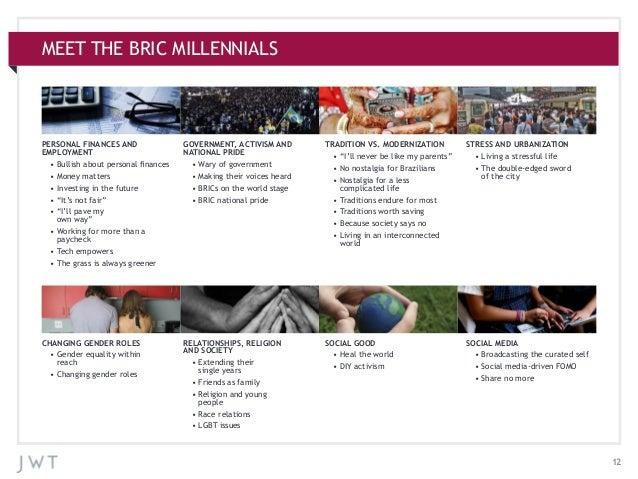 MEET THE BRIC MILLENNIALS  PERSONAL FINANCES AND EMPLOYMENT  •Bullish about personal finances  •Money matters  •Inve...