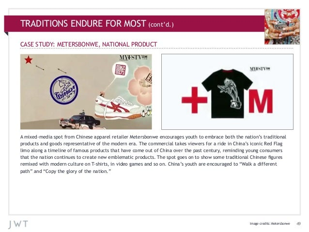 TRADITIONS ENDURE FOR MOST (cont'd.) CASE STUDY: METERSBONWE, NATIONAL PRODUCT  A mixed-media spot from Chinese apparel re...