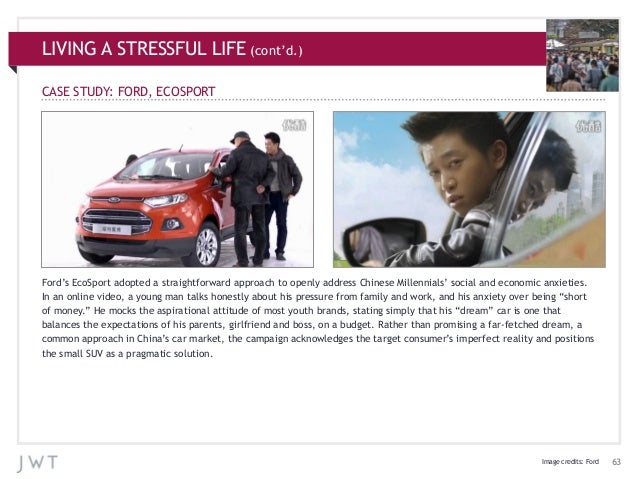 LIVING A STRESSFUL LIFE (cont'd.) CASE STUDY: FORD, ECOSPORT  Ford's EcoSport adopted a straightforward approach to openly...