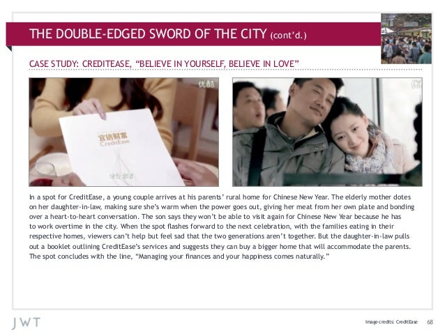 """THE DOUBLE-EDGED SWORD OF THE CITY (cont'd.) CASE STUDY: CREDITEASE, """"BELIEVE IN YOURSELF, BELIEVE IN LOVE""""  In a spot for..."""