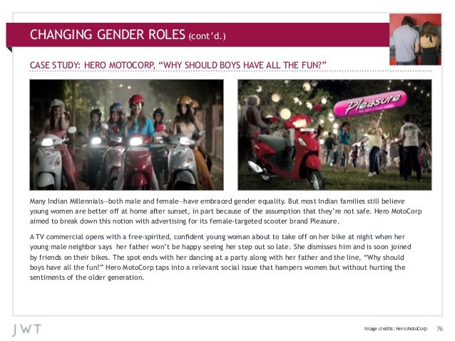 """CHANGING GENDER ROLES (cont'd.) CASE STUDY: HERO MOTOCORP """"WHY SHOULD BOYS HAVE ALL THE FUN?"""" ,  Many Indian Millennials—b..."""