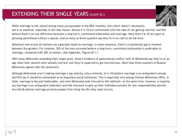EXTENDING THEIR SINGLE YEARS (cont'd.) While marriage is still valued among many young people in the BRIC markets, this co...