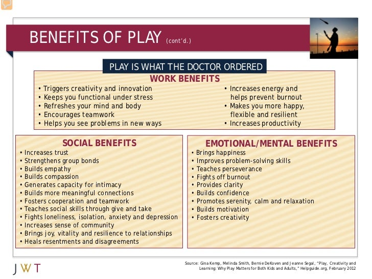 BENEFITS OF PLAY                              (cont'd.)                              PLAY IS WHAT THE DOCTOR ORDERED      ...