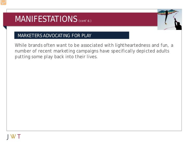 MANIFESTATIONS               (cont'd.) MARKETERS ADVOCATING FOR PLAYWhile brands often want to be associated with lighthea...