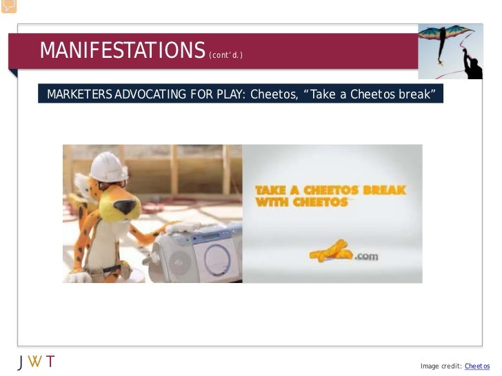 "MANIFESTATIONS           (cont'd.)MARKETERS ADVOCATING FOR PLAY: Cheetos, ""Take a Cheetos break""                          ..."