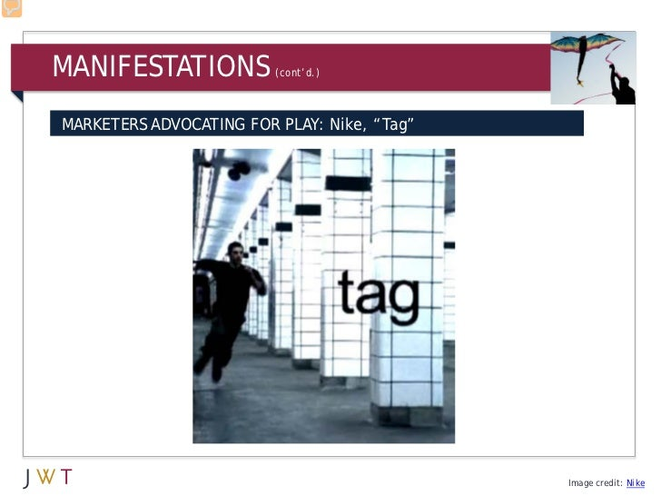 "MANIFESTATIONS           (cont'd.)MARKETERS ADVOCATING FOR PLAY: Nike, ""Tag""                                             I..."