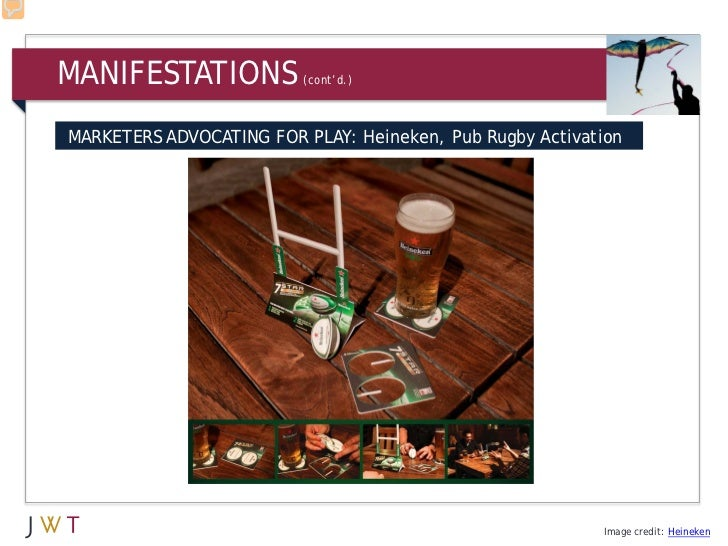 MANIFESTATIONS           (cont'd.)MARKETERS ADVOCATING FOR PLAY: Heineken, Pub Rugby Activation                           ...