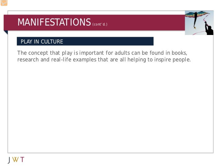 MANIFESTATIONS                (cont'd.) PLAY IN CULTUREThe concept that play is important for adults can be found in books...