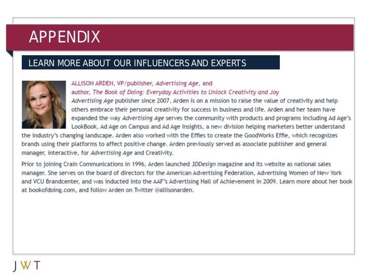 APPENDIXLEARN MORE ABOUT OUR INFLUENCERS AND EXPERTS