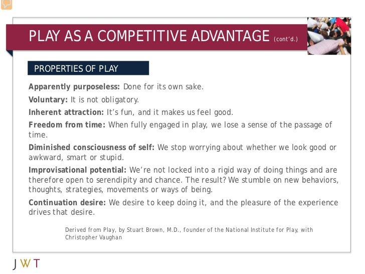 PLAY AS A COMPETITIVE ADVANTAGE                                                      (cont'd.) PROPERTIES OF PLAYApparentl...