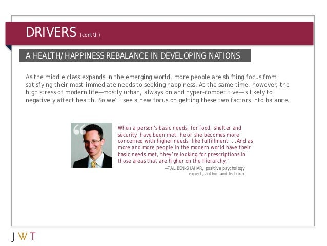 DRIVERS            (contd.)A HEALTH/HAPPINESS REBALANCE IN DEVELOPING NATIONSAs the middle class expands in the emerging w...