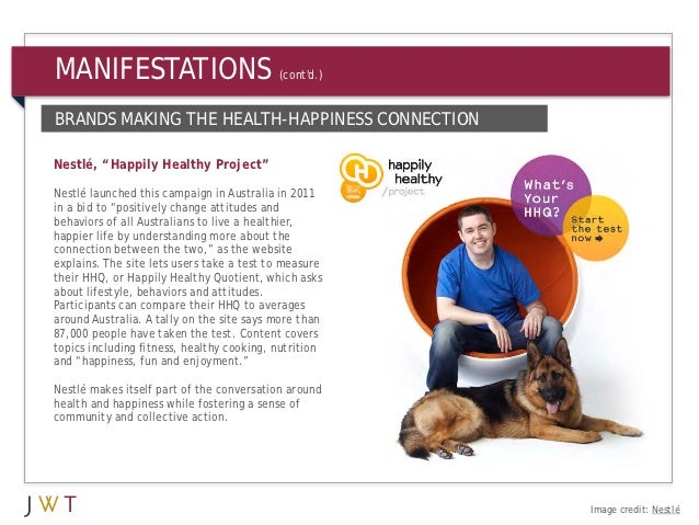 """MANIFESTATIONS                             (contd.)BRANDS MAKING THE HEALTH-HAPPINESS CONNECTIONNestlé, """"Happily Healthy P..."""