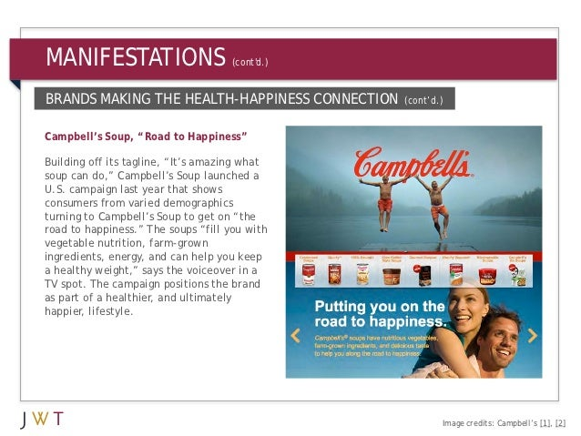 """MANIFESTATIONS                       (contd.)BRANDS MAKING THE HEALTH-HAPPINESS CONNECTION    (cont'd.)Campbell's Soup, """"R..."""
